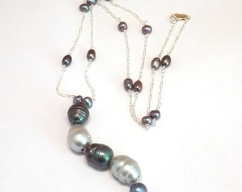 Black Pearl Necklace Tahitian Pearl Necklace Peacock Pearl Necklace Baroque Pearl Necklace Gray Pearl Necklace