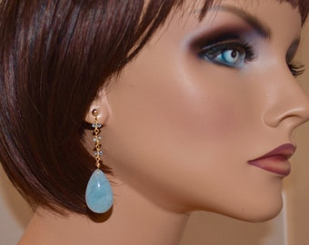 LP 1268 Polished Sky Blue Aquamarine Teardrop and Faceted Aquamarine  Rondell Vermeil Chain Earrings