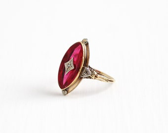 Sale - Vintage 10k Rosy Yellow White Gold Art Deco Diamond Created Ruby Ring - 1930s Size 6 1/2 Pink Stone Two Tone Statement Fine Jewelry