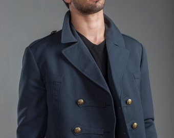 1960's REDESIGNED/ REVAMPED Swedish Army MILITARY Style Vintage Gabardine Gray Blue Flamboyant Wool Coat by Top Rank Vintage ( Unissued )