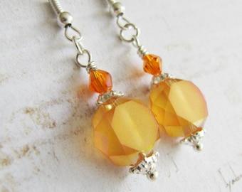 Orange earrings, crystal dangle earrings, tangerine jewelry, orange jewelry, for her, Europe