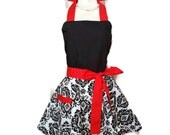 Classic Flirty Apron, Black and White Damask, sexy apron, Red Ties, Christmas gift, cute aprons for women, bridal shower gift, kitchen apron
