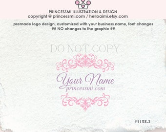 1158-3 Custom logo, business card, banner / Premade Logo Design - Damask logo/ Scrolls photography logo / boutique logo