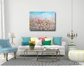 Large Wall Art, Floral Canvas Art, Abstract Floral Meadow Canvas Print, Giclee Print, Large Floral Art Painting, Pink Floral Meadow Painting