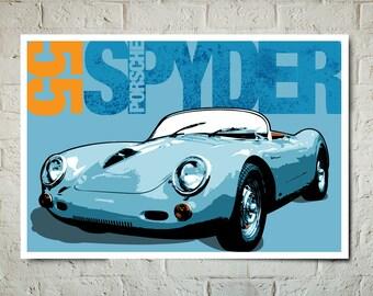 Car Art - 1955 Porsche Spyder - Auto Art, Automobile Art, Automotive Decor, Man Cave Art, Car Gift, Art Print, Race Car Poster, Garage Art