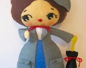 Mary Poppins Nanny Sweetest Small Felt Doll Ready To Ship