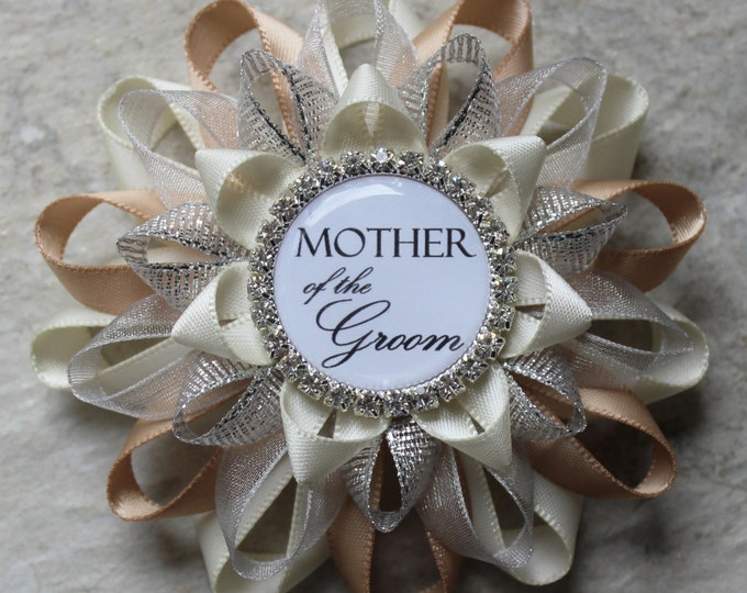 Bridal Shower Corsage Pin, Mother of the Groom Flower, Mother of the Bride Flower, Bridal Shower Decorations, Bride to Be Pin, Champagne