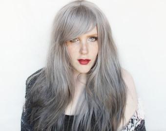 SALE Gray wig   Long Silver wig   Gradient wig, Straight Grey wig   Crystal Storm