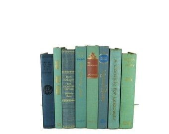 Green Blue Books , Vintage Books , Books , Decorative Books ,  Wedding Decor ,  Photo Prop , Instant Library , Shabby Chic Wedding
