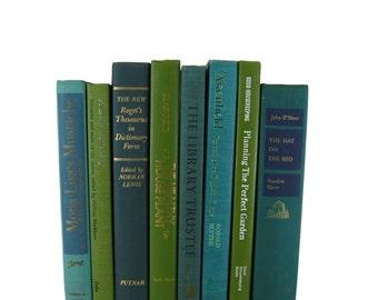 Green Blue  Vintage  Books , Vintage Wedding Decor, Vintage  Photography Prop , decorative books , old books , vintage book bundles