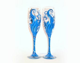 Wedding Glasses Ocean Blue Wave Hand Painted Set of 2 - 6 oz.  Champagne  Flutes  Deep Blues Silver Dark Blue / Wedding, Anniversary