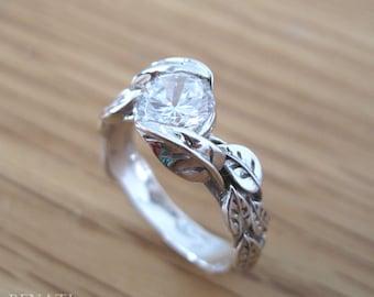 Moissanite Engagement Ring, Floral Vine Ring, White Gold Leaves Ring, Forever One Moissanite Leaf Engagement Ring, Moissanite Antique Ring