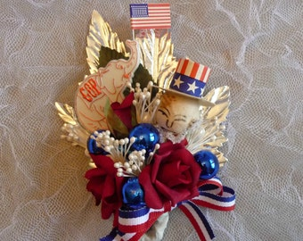 GOP Election Corsage Republican Convention Vintage Spun Cotton Uncle Sam Red White Blue 4th of July Keepsake