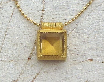 RESERVED to Good Hand Tattoo - Gold Citrine Necklace - 24k Gold Pendant - Wedding Necklace - Third  Payment
