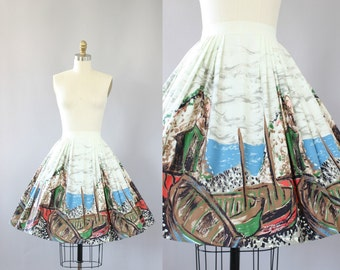Vintage 50s Skirt/ 1950s Cotton Skirt/ Boat Yard Scene Novelty Print Cotton Skirt S