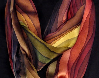 Earthtone Stripe Silk Infinity Scarf
