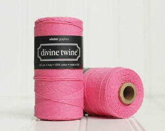 CLEARANCE SALE - 1 Spool (240 yds) of Solid Hot Pink Baker's Twine - 4-ply, 100% Cotton, Gift Wrap, Packaging, Scrapbooking, etc.