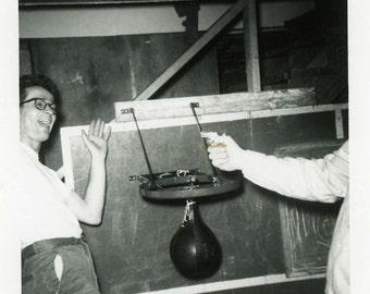 "Vintage Photo ""The Aggressive Boxing Coach"" Snapshot Antique Photo Black & White Photograph Found Paper Ephemera Vernacular - 198"