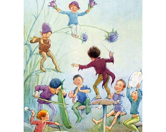 Faerie Magnet - Fairy Orchestra Plays in the Meadow - Repro Margaret Tarrant