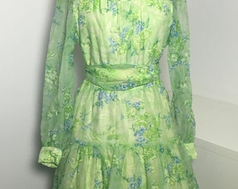 70's Green Floral Taffeta Dress