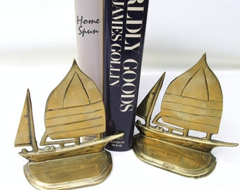 Vintage Sail Boat Bookends | Brass Bookends | Brass Sailboats | Ship Bookends | Metal Sail Boats | Brass Book Ends