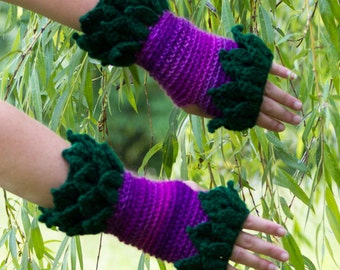 Leafy Fingerless Gloves Crochet, CUSTOM MADE,  Crocodile Stitch Gloves, Cuffs, Arm Warmers, Festivalwear, Leaves Armwarmers, Festival Wear