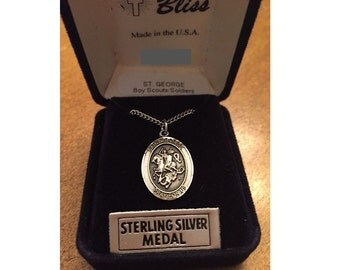 """Saint George Vintage Silver Bliss Religious Medal Pendant on original 18"""" stainless steel chain"""