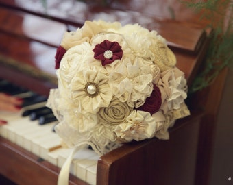 Ivory wine bridal  Bouquet Fabric Bridal Bouquet