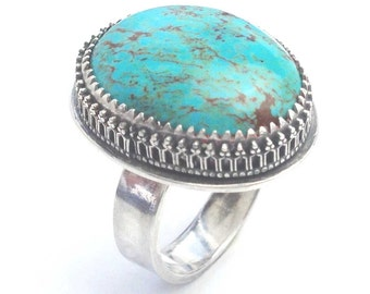 Turquoise Sterling Statement Ring, Native American Stone, Filagree, Desert South West, December Birthstone, Boho Turquoise Ring Handmade