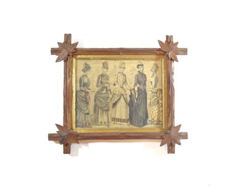 Vintage Framed Victorian Print / 1800s Ladies Fashion Print in Eastlake Picture Frame / Wall Decor