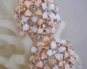 Dainty Four Petaled Enameled White n Soft Pale Pink Flower Button Earrings