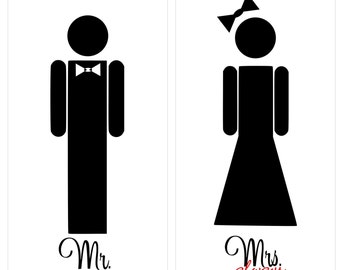 Wedding / Corn Hole Game / Bride / Groom / Lawn Game / Decal Only / Head is hole /