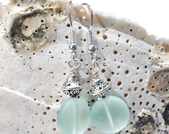 Aqua Sea Glass Earrings, Beach Jewelry, Ocean Jewelry, Sea Glass Jewelry, Beach Glass Jewelry, Ocean Earrings, Sea Glass Dangle Earrings