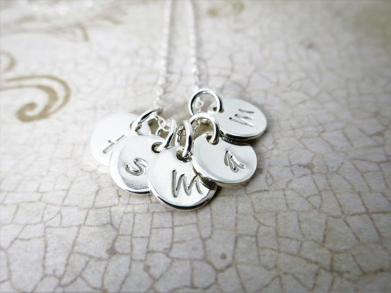 Initial Necklace -  Tiny Discs - Small Discs - Custom Necklace - Mommy Necklace - Gift for Mom - Granny Necklace - Gift for Grandma