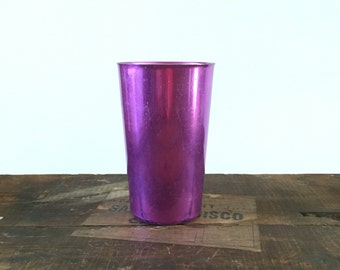 Bascal Anodized Purple Aluminum Tumbler Cup 1950's Mid Century Metal Cup Made in Italy Metallic Atomic Era Mod Modern Minimalist Collectable