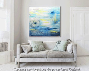 ORIGINAL Painting Blue Abstract Painting Aqua Blue Green Wall Art Home Decor Coastal Wall Decor Textured Sculpted Palette Knife - Christine