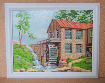 Vintage Water Mill Mid Century Paint By Number Framed Art in White Frame