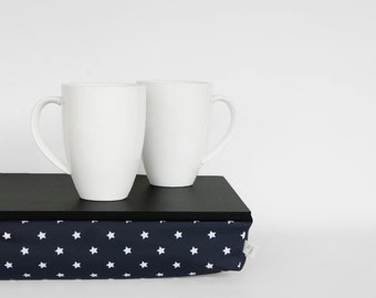Serving tray with support pillow, lap desk - black tray,  navy with white stars print pillow
