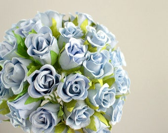 48 Roses / Blue Bell Soft Blue Paper Flowers Bouquets / 20 mm / 48 Half Bloom Blossoms Total / Flower Ball / Wedding / Shabby Chic
