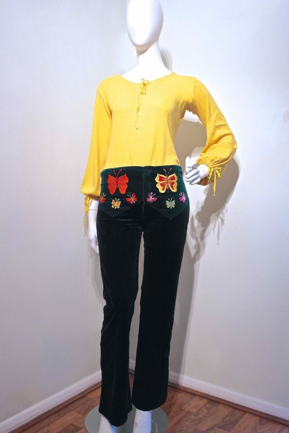 Rare GRANNY TAKES A TRIP Embroidered Yoke Constrast Velvet Pants 1970-1971 // Bespoke Made // Rock n Roll Iconic Fashion