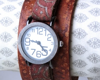 Stamped and Embossed Brown Leather Cuff Watch, Large Faced Watch Cuff, Leather Cuff, Gift, Jewelry