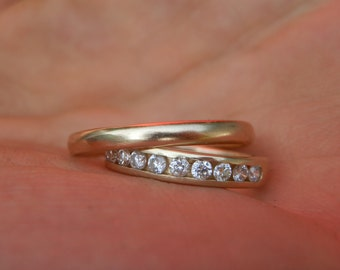 Diamond Eternity and Gold Band Wedding Set - Diamond Wedding Set - Diamond Channel Wedding Set - Diamond Channel Ring