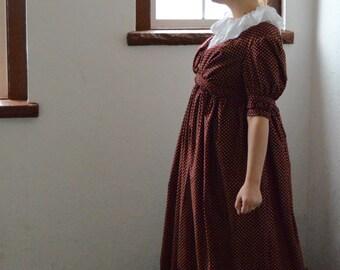1810's Regency Era/ Jane Austen/ Burgundy Day Gown