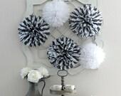 Black & White  Striped Tissue Paper Pom Pom Collection - Bridal Shower - Baby Shower - Dessert Table - 5 Poms