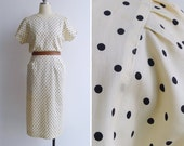 Vintage 80's Vanilla Choc Chip Avant Garde Wiggle Dress S or M