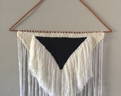 CREAM & BLACK TRIANGLE// extra large woven wall hanging