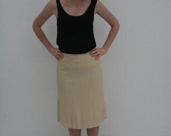 1970's Lined Ivory Midi Skirt