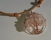 Pregnancy and Fertility Tree Necklace, Sterling Silver and Copper Tree of Life pendant with Rose Quartz and Moonstone