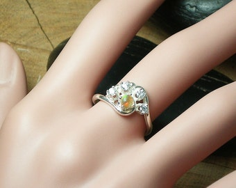 Holiday Sale - Orange Ethiopian Opal Ring, all Solid Sterling Silver, Zircon and Natural Welo Ethiopian Opal, Size 7