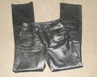 WILSON MAXIMA Leather Pants Women Size 8 Vintage Black Flat Front Boot Cut Biker Motorcycle